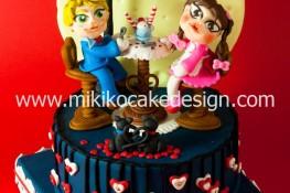 Immagine torta per San Valentino con decorazioni in PDZ