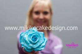 Immagine Michy con la sua rosa in pasta di gomma