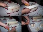 Immagine fotografica con passaggi durante il taglio torta